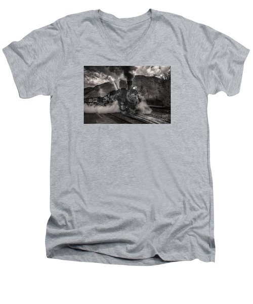 Men's V-Neck T-Shirt featuring the digital art Leaving Durango For Silverton by William Fields