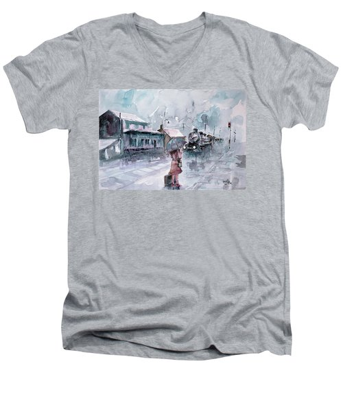 Men's V-Neck T-Shirt featuring the painting Leaving... by Faruk Koksal