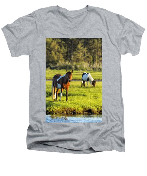 Leaving The Chincoteague Ponies Men's V-Neck T-Shirt