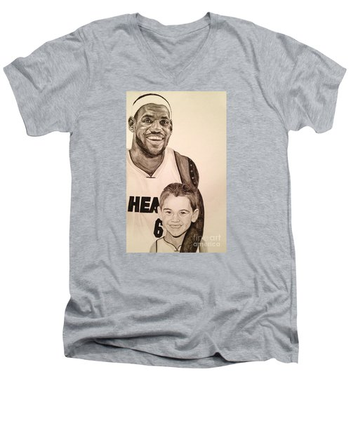 Men's V-Neck T-Shirt featuring the painting Lebron And Carter by Tamir Barkan