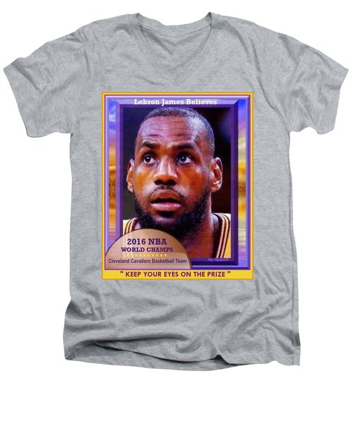 Men's V-Neck T-Shirt featuring the drawing Lebron James Believes by Ray Tapajna
