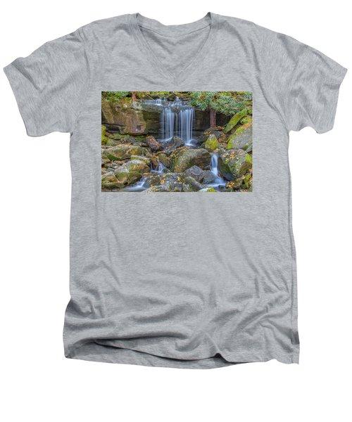 Leconte Creek Waterfall 2 Men's V-Neck T-Shirt
