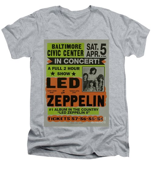 Led Zeppelin Live In Concert At The Baltimore Civic Center Poster Men's V-Neck T-Shirt by R Muirhead Art