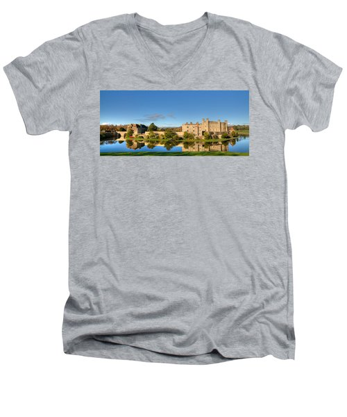 Leeds Castle And Moat Reflections Men's V-Neck T-Shirt