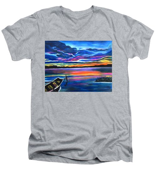 Left Alone A Seascape Boat Painting At Sunset  Men's V-Neck T-Shirt