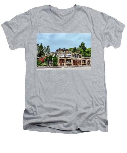 Men's V-Neck T-Shirt featuring the photograph Legs Inn Of Cross Village by Bill Gallagher