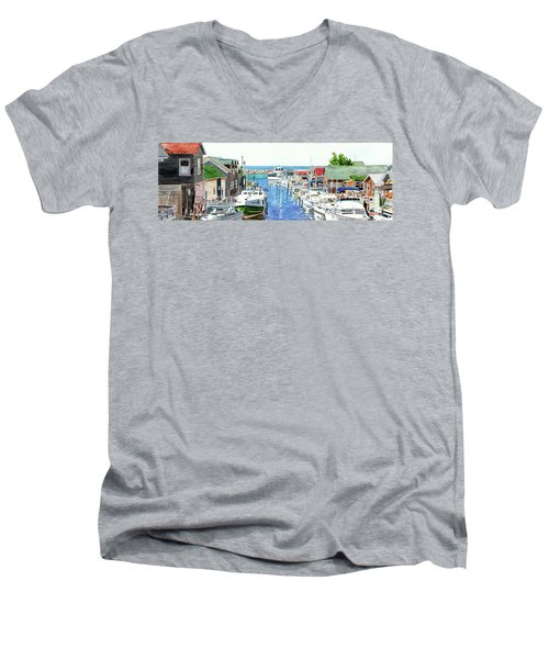 Leland Fishtown, Fishing Village, Leland Painting, Michigan Painting, Boating, Boat Painting Men's V-Neck T-Shirt