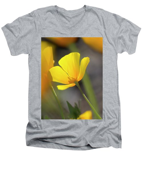 Lemon Yellow Men's V-Neck T-Shirt by Sue Cullumber