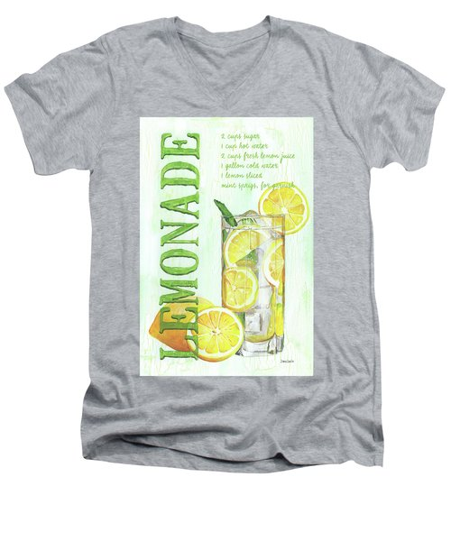 Men's V-Neck T-Shirt featuring the painting Lemonade by Debbie DeWitt