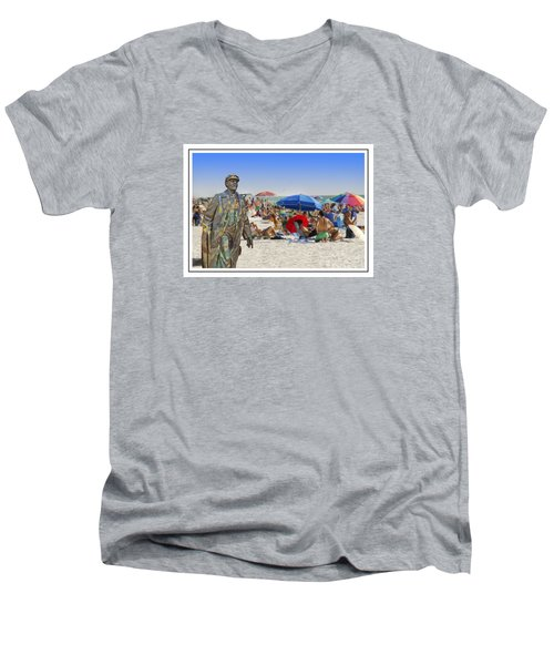 Lenin Goes To The Beach White Border Men's V-Neck T-Shirt