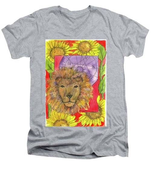 Men's V-Neck T-Shirt featuring the painting Leo by Cathie Richardson