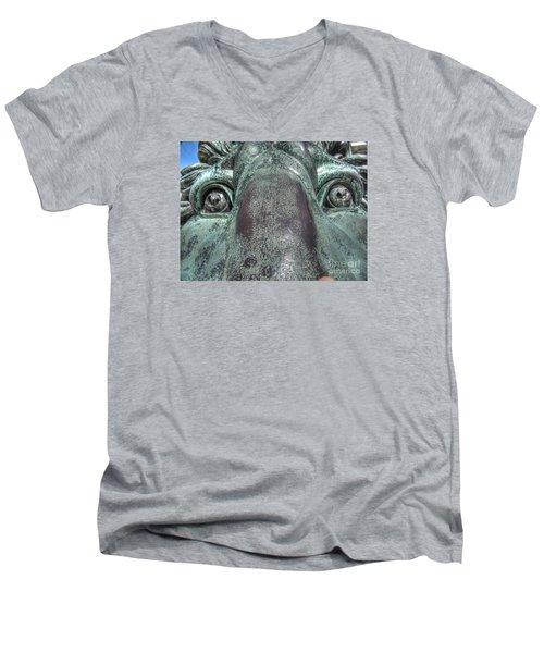 Leo Eyes Men's V-Neck T-Shirt by Yury Bashkin