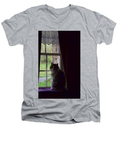 Leo In The Window Men's V-Neck T-Shirt