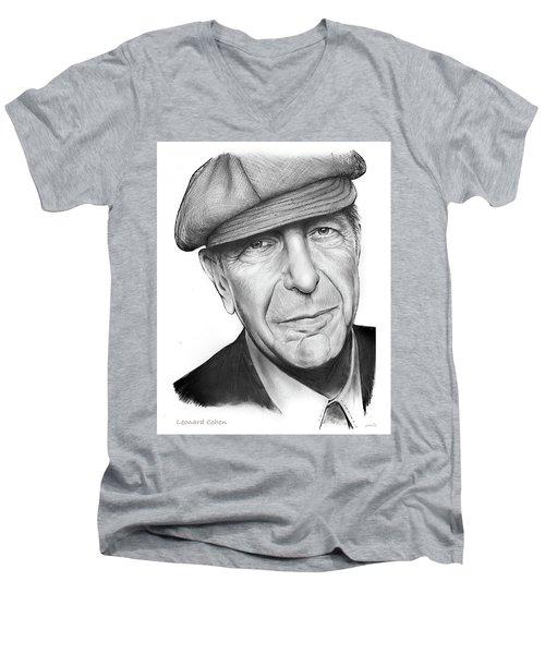 Leonard Cohen Men's V-Neck T-Shirt by Greg Joens