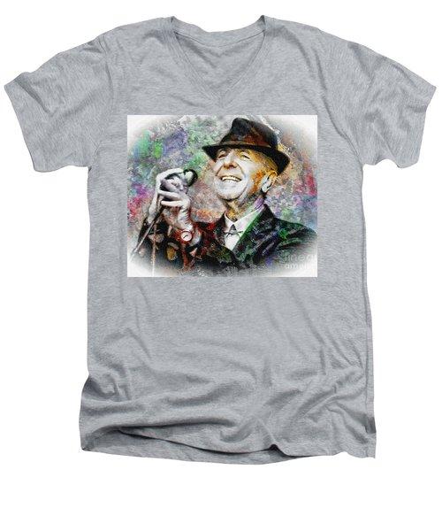 Leonard Cohen - Tribute Painting Men's V-Neck T-Shirt