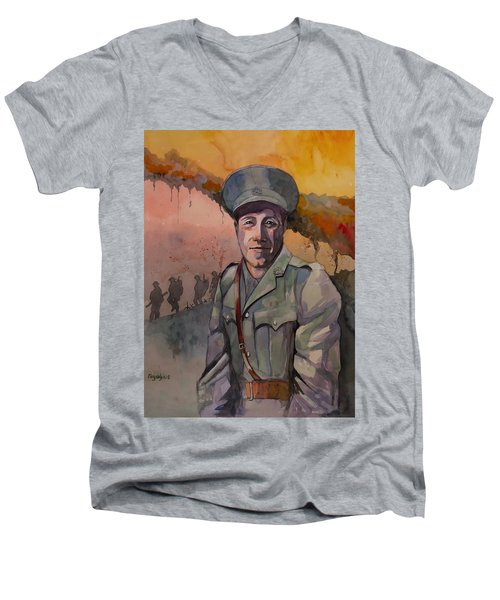 Men's V-Neck T-Shirt featuring the painting Leonard Keysor Vc by Ray Agius