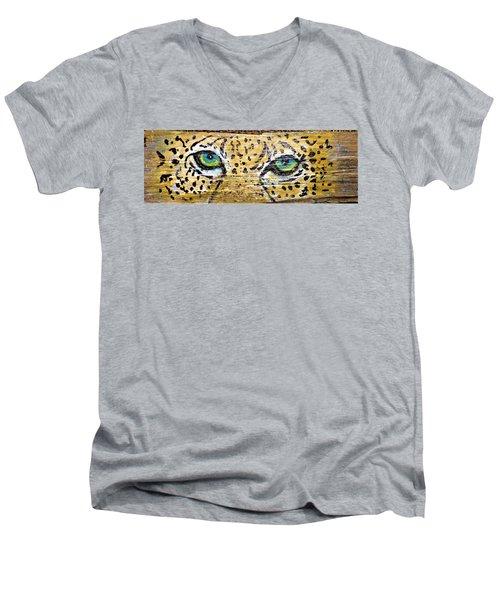 Leopard Eyes Men's V-Neck T-Shirt by Ann Michelle Swadener