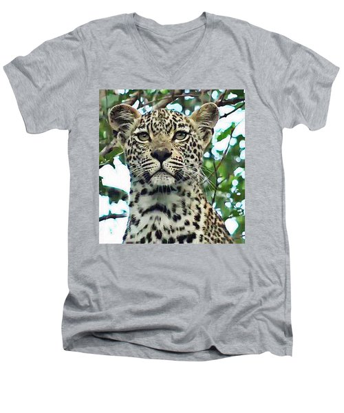 Leopard Face Men's V-Neck T-Shirt
