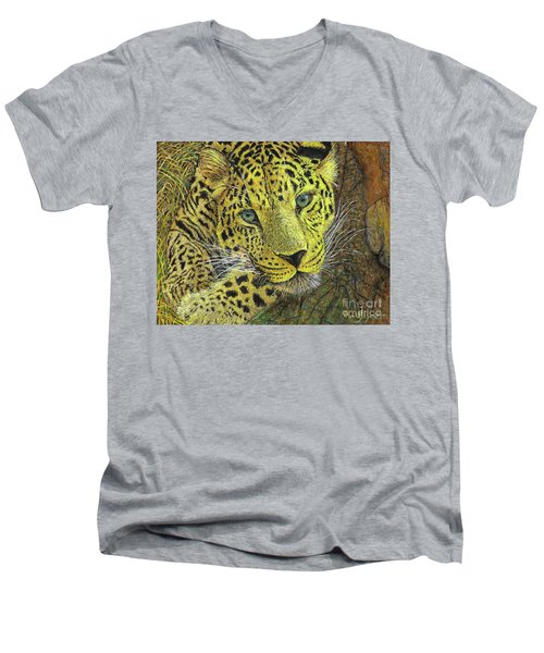 Leopard Gaze Men's V-Neck T-Shirt by David Joyner