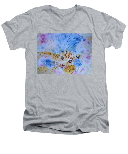Leopard Hide And Seek Men's V-Neck T-Shirt