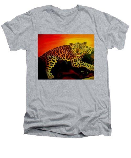 Leopard On A Tree Men's V-Neck T-Shirt by Manuel Sanchez