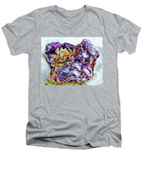 Lepidolite Men's V-Neck T-Shirt by Rachel Hannah