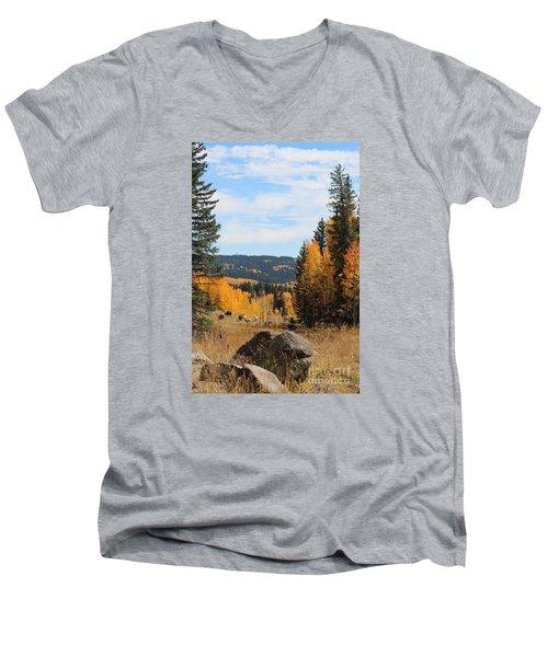 Leroux Creek Autumn In Colorado Men's V-Neck T-Shirt