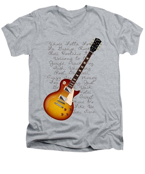 Les Paul Songs T-shirt Men's V-Neck T-Shirt by WB Johnston
