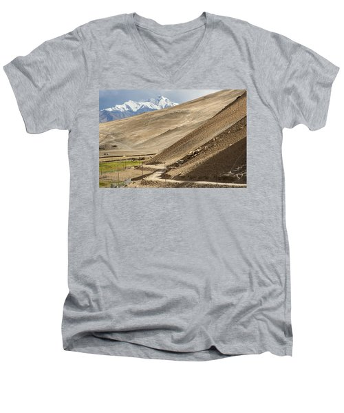 Less Traveled Men's V-Neck T-Shirt by Hitendra SINKAR