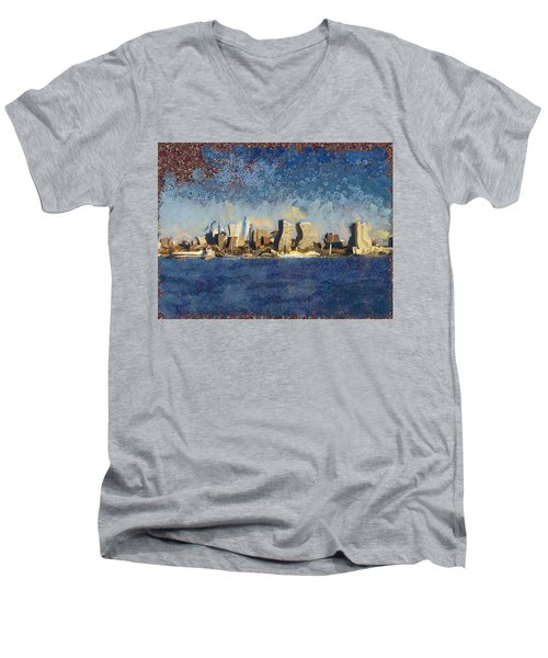 Men's V-Neck T-Shirt featuring the mixed media Less Wacky Philly Skyline by Trish Tritz
