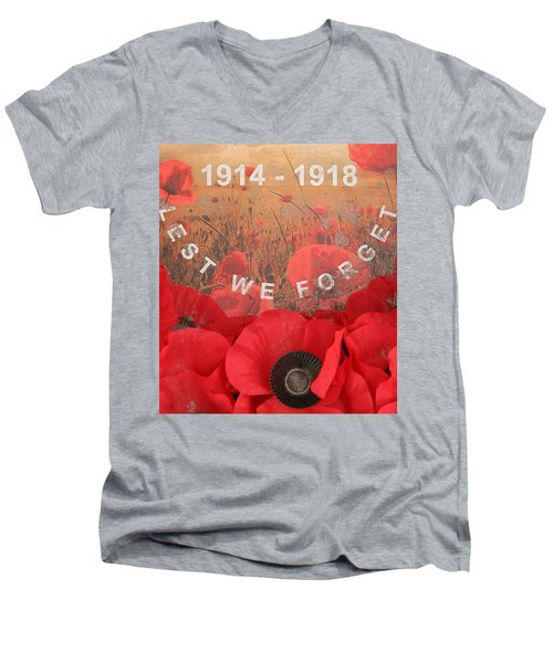 Lest We Forget - 1914-1918 Men's V-Neck T-Shirt by Travel Pics