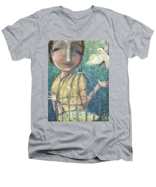 Men's V-Neck T-Shirt featuring the painting Let It Go by Eleatta Diver