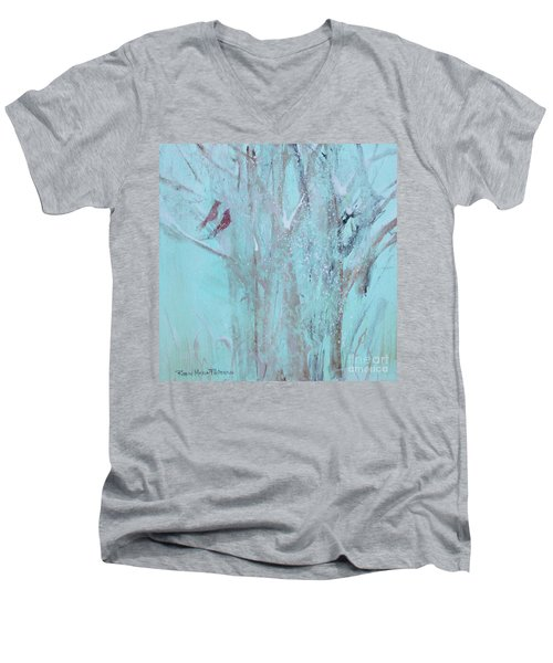 Men's V-Neck T-Shirt featuring the painting Let It Snow by Robin Maria Pedrero