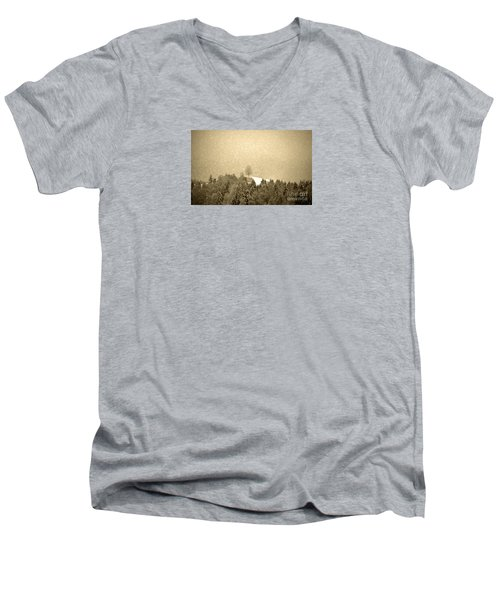 Men's V-Neck T-Shirt featuring the photograph Let It Snow - Winter In Switzerland by Susanne Van Hulst