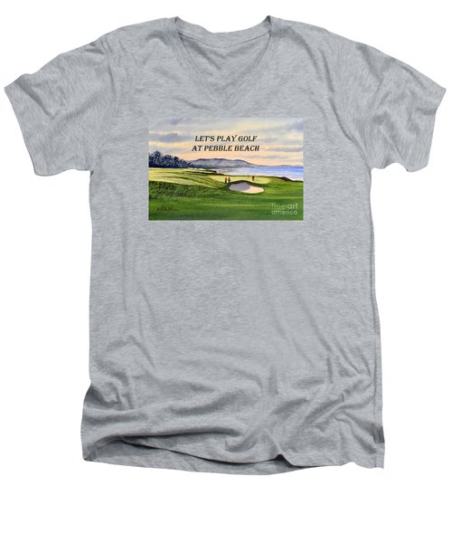 Men's V-Neck T-Shirt featuring the painting Let-s Play Golf At Pebble Beach by Bill Holkham