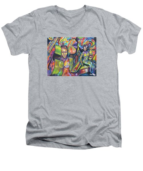 Let The Music Play Men's V-Neck T-Shirt