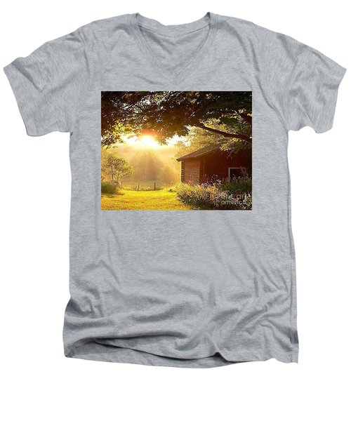 Let There Be Light Men's V-Neck T-Shirt by Rod Jellison
