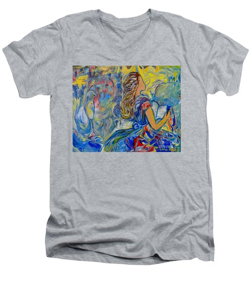 Men's V-Neck T-Shirt featuring the painting Let Your Kingdom Come by Deborah Nell