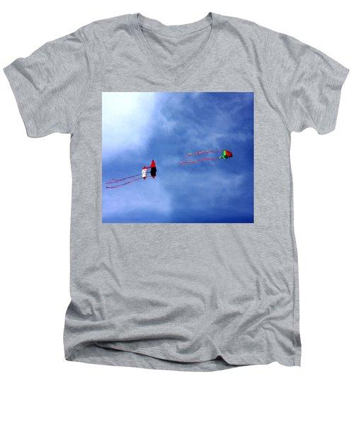 Let's Go Fly 2 Kites Men's V-Neck T-Shirt