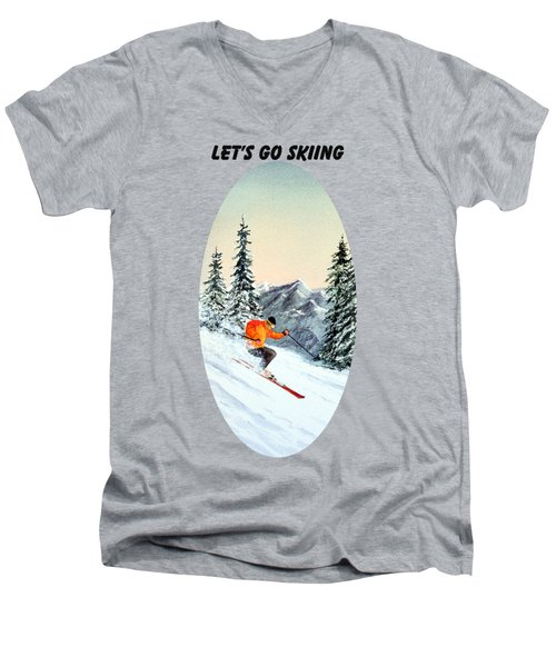 Men's V-Neck T-Shirt featuring the painting Let's Go Skiing  by Bill Holkham