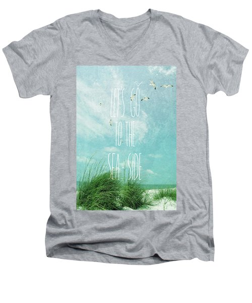 Men's V-Neck T-Shirt featuring the photograph Let's Go To The Sea-side by Jan Amiss Photography