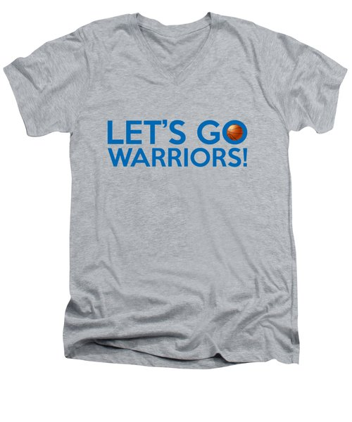 Let's Go Warriors Men's V-Neck T-Shirt by Florian Rodarte