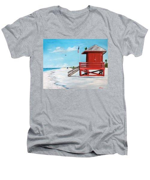 Let's Meet At The Red Lifeguard Shack Men's V-Neck T-Shirt