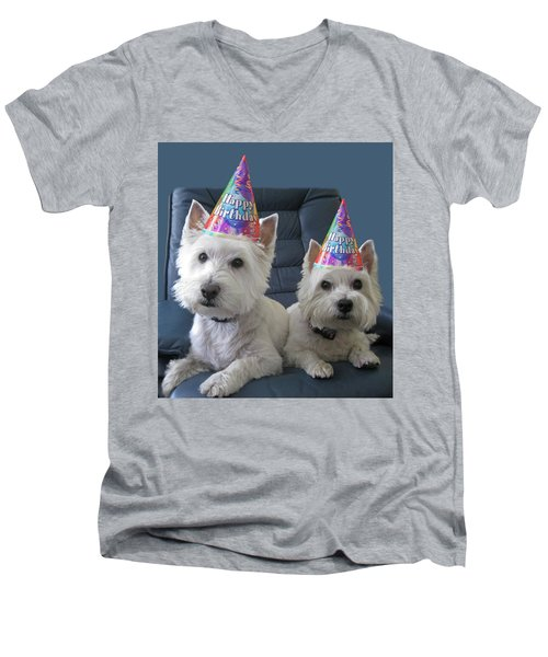 Men's V-Neck T-Shirt featuring the photograph Let's Party by Geraldine Alexander