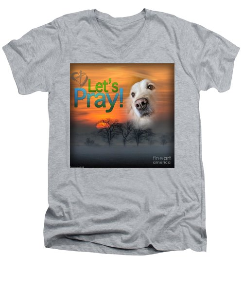 Men's V-Neck T-Shirt featuring the digital art Let's Pray by Kathy Tarochione