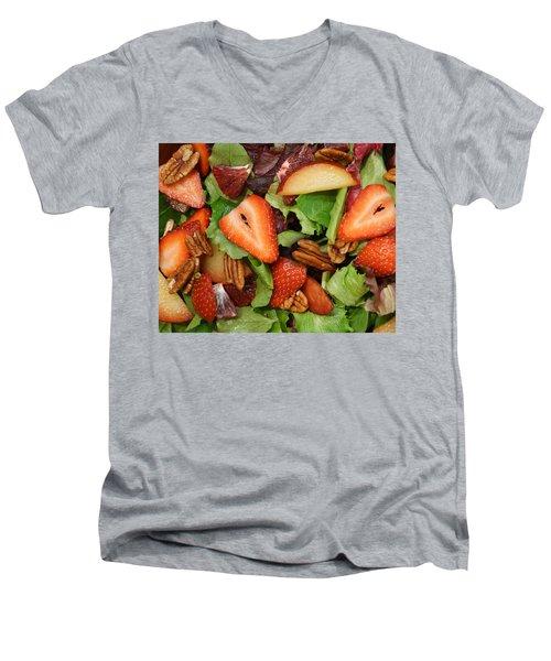 Men's V-Neck T-Shirt featuring the digital art Lettuce Strawberry Plum Salad by Jana Russon