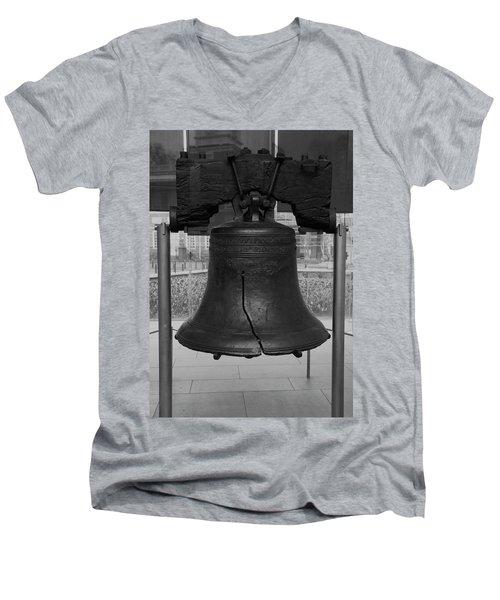 Men's V-Neck T-Shirt featuring the digital art Liberty Bell Bw by Chris Flees