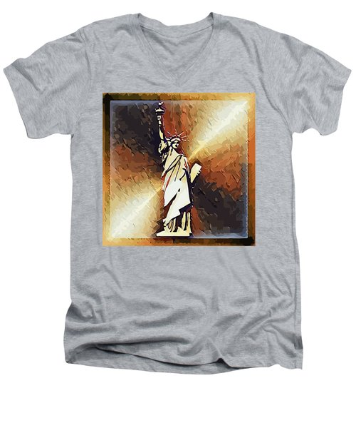 Liberty On The Hudson Men's V-Neck T-Shirt