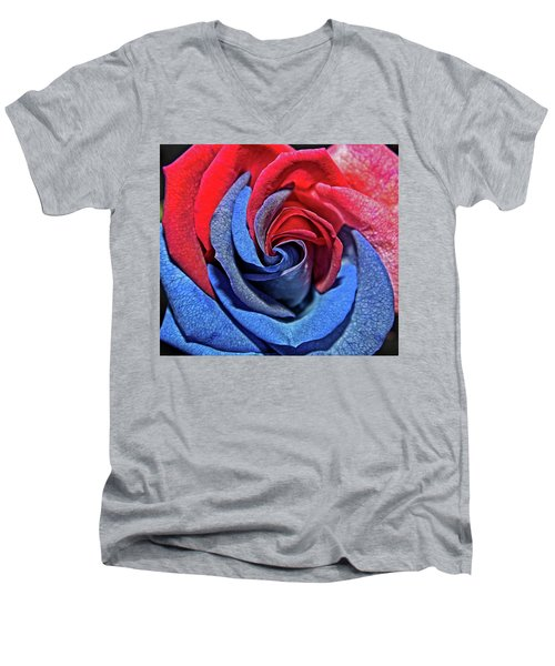 Men's V-Neck T-Shirt featuring the photograph Liberty Rose by Judy Vincent