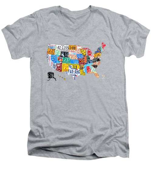 License Plate Art Map Of The United States On Yellow Board Men's V-Neck T-Shirt by Design Turnpike